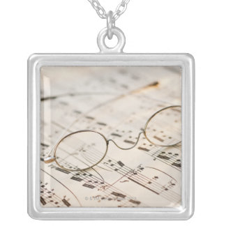 Eyeglasses on Sheet Music Silver Plated Necklace