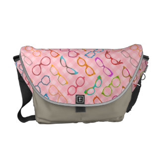 Eyeglasses Retro Modern Hipster with Pink Gingham Messenger Bag