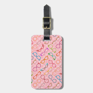 Eyeglasses Retro Modern Hipster with Pink Gingham Tag For Luggage