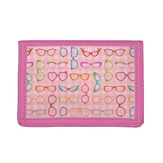 Eyeglasses Retro Modern Hipster with Pink Gingham Tri-fold Wallets