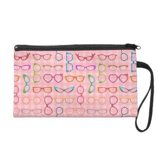 Eyeglasses Retro Modern Hipster with Pink Gingham Wristlet