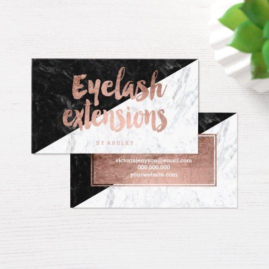Eyelash block modern rose gold typography marble business