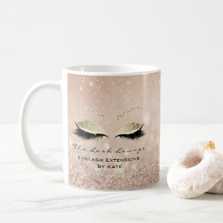 Eyelash Extension Beauty Makeup Gold Glitter Pink Coffee Mug