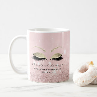 Eyelash Extension Beauty Studio Gold Glitter Pink Coffee Mug