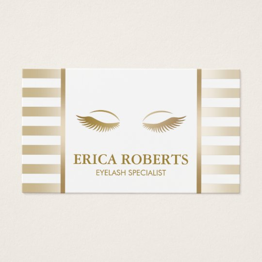 Eyelash Extension Makeup Artist Chic Gold Stripes Business Card