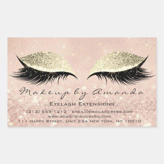 Eyelash Extension Makeup Beauty Salon Blush Gold Rectangular Sticker