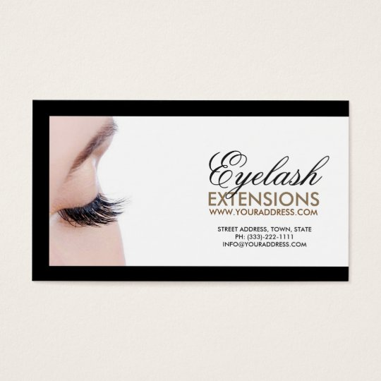 Eyelash Extensions Black Border Simple White Card