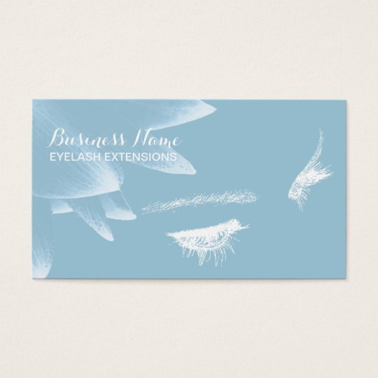 Eyelash Extensions Elegant Floral Light Blue Business Card