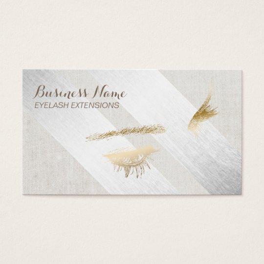 Eyelash Extensions Makeup Modern Silver Geometric Business Card