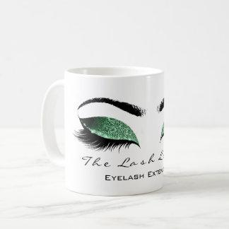 Eyelash Extention Beauty Studio Cali Green Glitter Coffee Mug