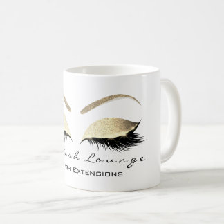 Eyelash Extention Beauty Studio Gold Glitter Coffee Mug