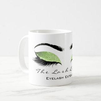 Eyelash Extention Beauty Studio Greenery Glitter Coffee Mug