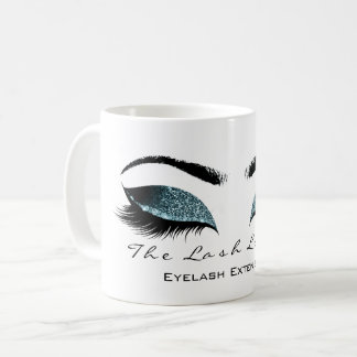 Eyelash Extention Beauty Studio Teal Glitter Coffee Mug