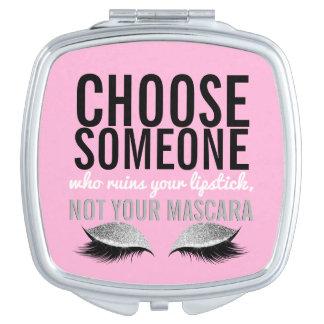 Eyelash Makeup Girly Pink Inspirational Quote Travel Mirrors