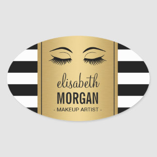 Eyelashes Logo Makeup Artist Gold Stripes Oval Sticker