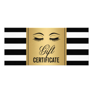 Eyelashes Makeup Gift Certificate Gold B&W Stripes Personalized Rack Card