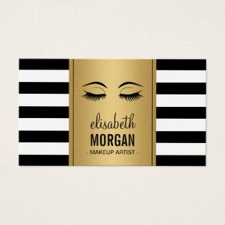 Eyelashes Makeup Logo Gold Black White Stripes