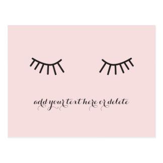 eyelashes postcard, cute face thank you card