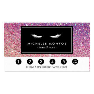 Eyelashes Purple/Pink Glitter Loyalty Punch Card Pack Of Standard Business Cards