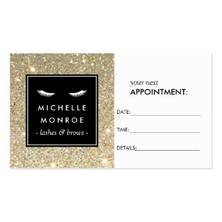 Eyelashes with Gold Glitter Appointment Card Pack Of Standard Business Cards