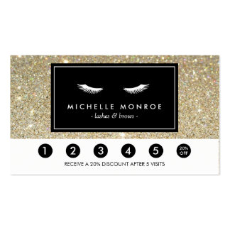 Eyelashes with Gold Glitter Loyalty Punch Card Pack Of Standard Business Cards