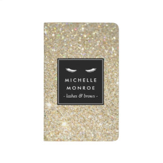 Eyelashes with Gold Glitter Personalized Journal
