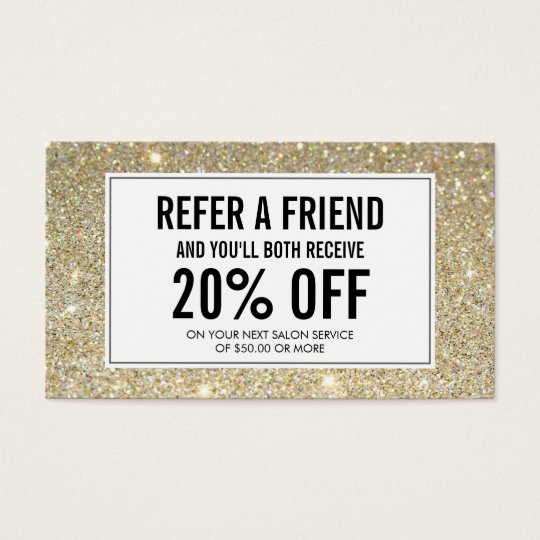 Eyelashes with Gold Glitter Salon Referral Card