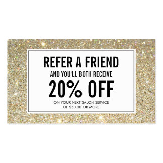 Eyelashes with Gold Glitter Salon Referral Card Pack Of Standard Business Cards