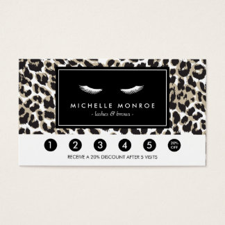 Eyelashes with Leopard Print Loyalty Punch Card