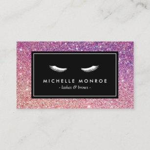 Purple glitter business cards zazzle uk eyelashes with purplepink glitter business card colourmoves
