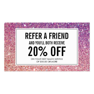 Eyelashes with Purple/Pink Glitter Salon Referral Pack Of Standard Business Cards