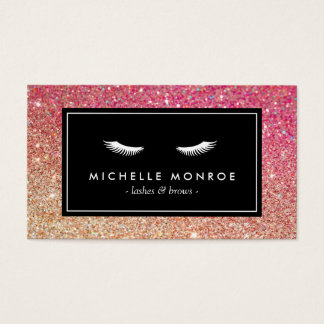 Eyelashes with Red/Bronze Glitter Business Card