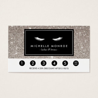 Eyelashes with Silver Glitter Loyalty Punch Card
