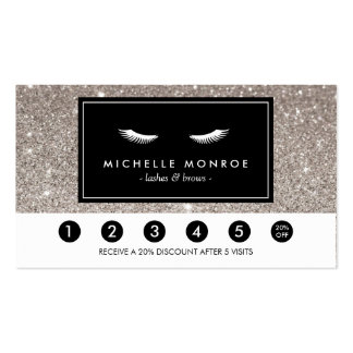 Eyelashes with Silver Glitter Loyalty Punch Card Pack Of Standard Business Cards