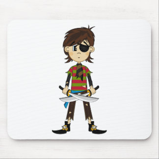 Eyepatch Pirate Girl Postcard Mouse Mat