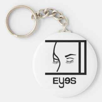eyes designs basic round button key ring