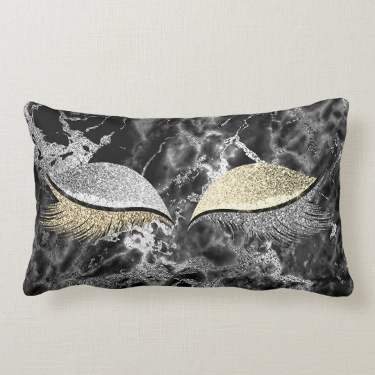 Eyes Glitter Makeup Lashes Gold Champaign Marble Lumbar