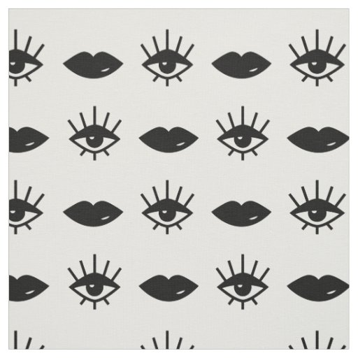 Eyes & Lips Black and White Pattern Fabric