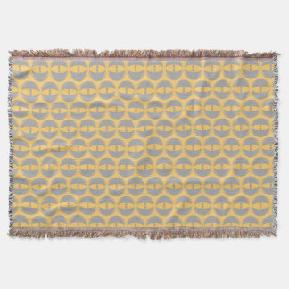 eyes mustard grey throw