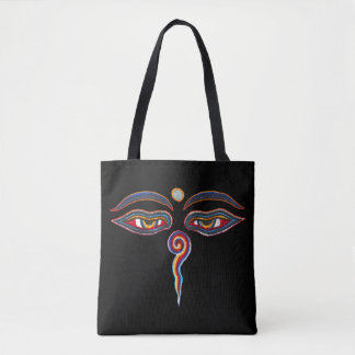 Eyes of Buddha + your background Tote Bag