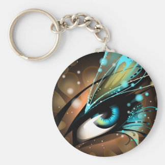 Eyes of Ice Blue Basic Round Button Key Ring