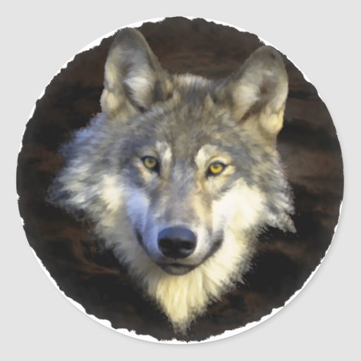 Eyes of the Mystic Gray Wolf Sticker