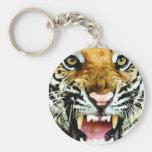 Eyes of Tiger Basic Round Button Key Ring