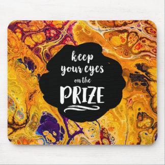 Eyes on the Prize Brilliant Orange Fractal Design Mouse Pad