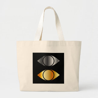 eyes symbols in gold and silver jumbo tote bag