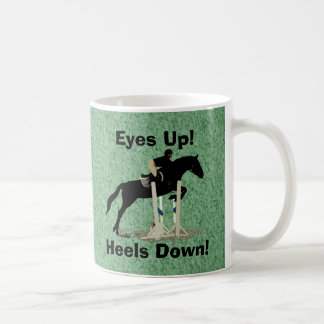 Eyes Up! Heels Down! Horse Jumper Basic White Mug