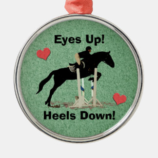 Eyes Up! Heels Down! Horse Jumper Christmas Ornament