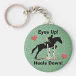 Eyes Up! Heels Down! Horse Jumper Basic Round Button Key Ring