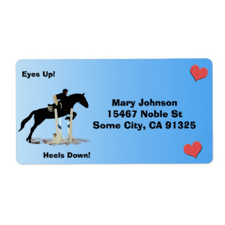 Eyes Up! Heels Down! Horse Jumper Shipping Label