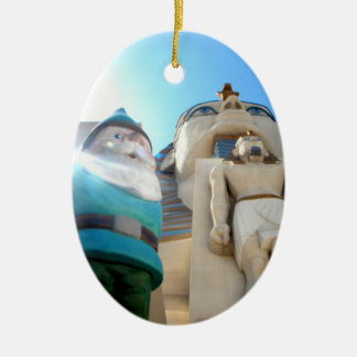 Eygpt Gnome Double-Sided Oval Ceramic Christmas Ornament